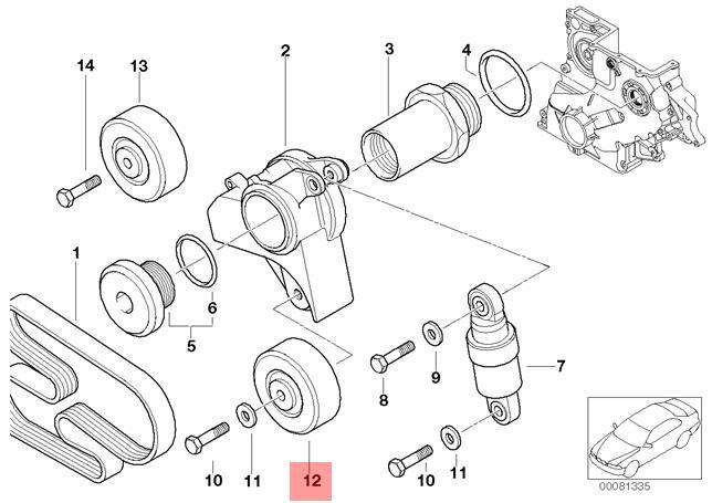 genuine bmw e34 e36 e38 e39 e46 compact tensioner pulley