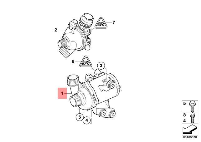 BMW WATER PUMP ELECTRIC E90 E91 E92 E93 323i 325i 328i 330i E82 128 #11517586925