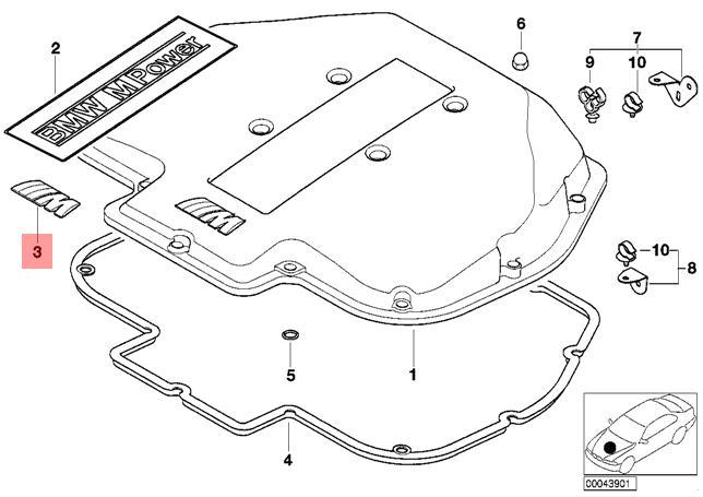 genuine bmw e39 e46 e52 e85 z3 intake manifold m emblem