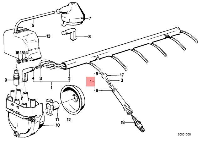 Genuine Bmw E23 E24 E28 Coupe Ignition Spark Plug Wire 1pcs Oem
