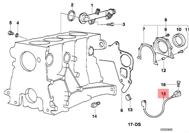 Genuine Bmw E36 Z3 Cabrio Coupe Knock Detonation Ping Sensor Oem