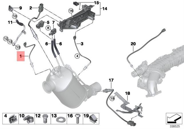 Genuine BMW E70 E70N E71 E81 E82 Exhaust Temperature Sensor OEM 13627805606