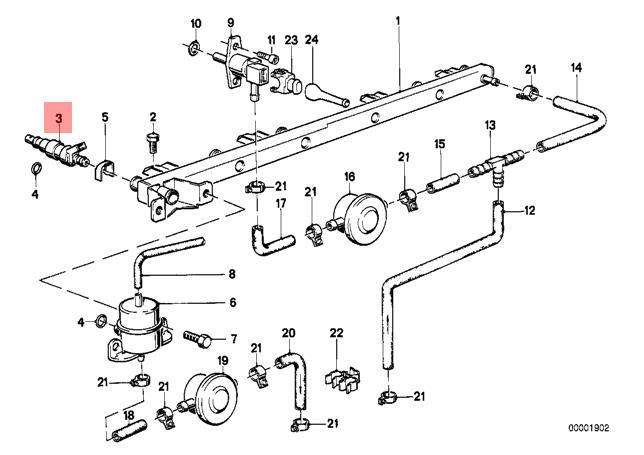 genuine bmw e24 e28 e30 coupe sedan fuel injector oem