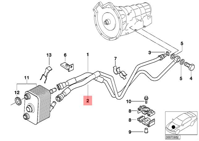 Genuine BMW E53 X5 Heat Exchanger Oil Cooler Hose Pipe Outlet OEM 17222248868