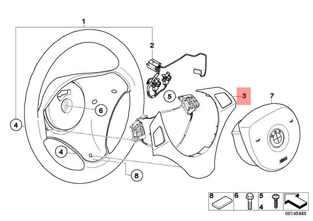 genuine bmw e87 steering wheel cover trim titan