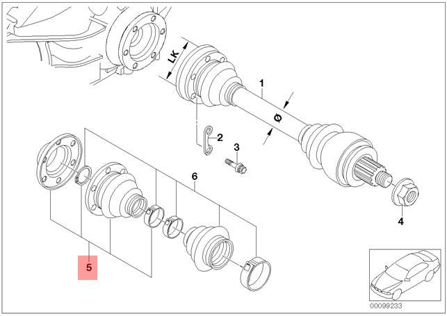 Genuine Bmw E39 Rear Axle Inner Drive Shaft Cv Boot Repair Kit Oem