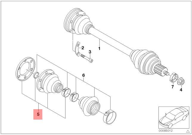 genuine bmw e30 z1 rear inner drive shaft cv boot repair