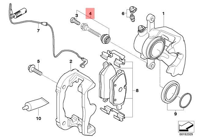 Genuine Bmw E81 Brake Caliper Guide Bushing Bolt Repair Kit Oem