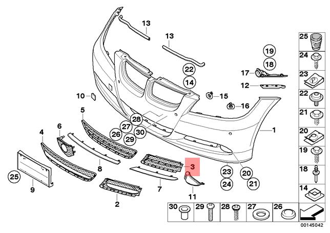 Genuine Bmw E90 E91 Sedan Wagon Front Closed Grid Grille Left Oem