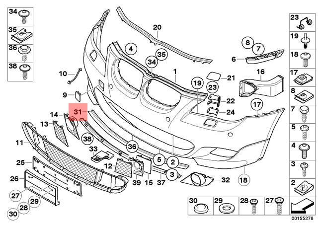 Genuine BMW E60 E60N E61 E61N Adapter strip Front Bumper OEM 51118032081