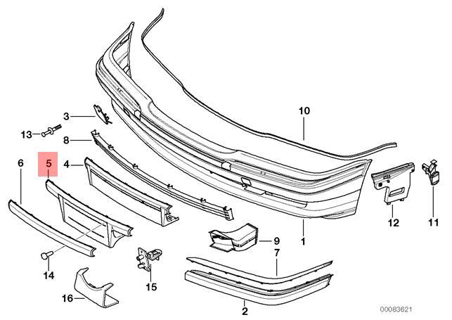 BMW E38 7 Series Front License Plate Base//Center Impact Strip;  51118150488