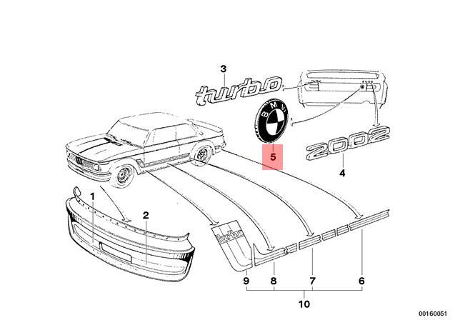 Genuine BMW 2002 turbo trunk boot badge logo emblem 51141832728
