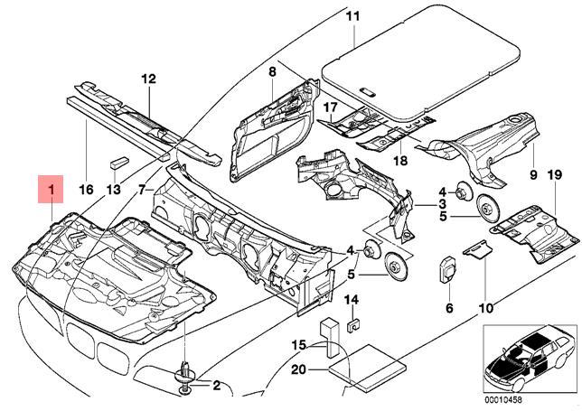genuine bmw e39 sedan engine hood sound insulation pad