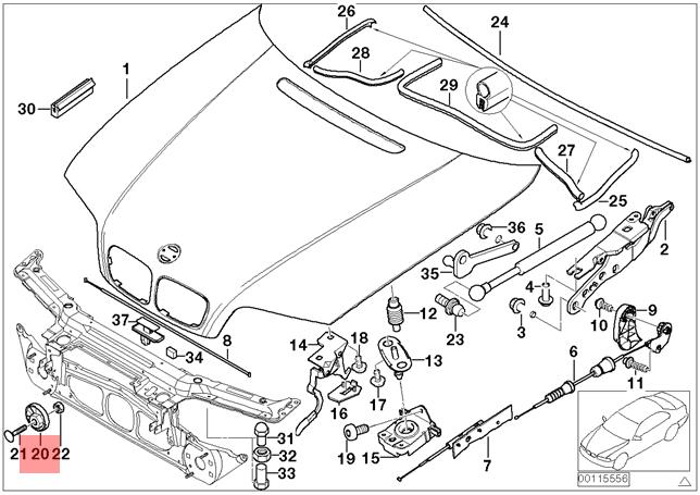 Genuine Bmw E46 Coupe Bonnet Stop On Radiator Support Left Oem