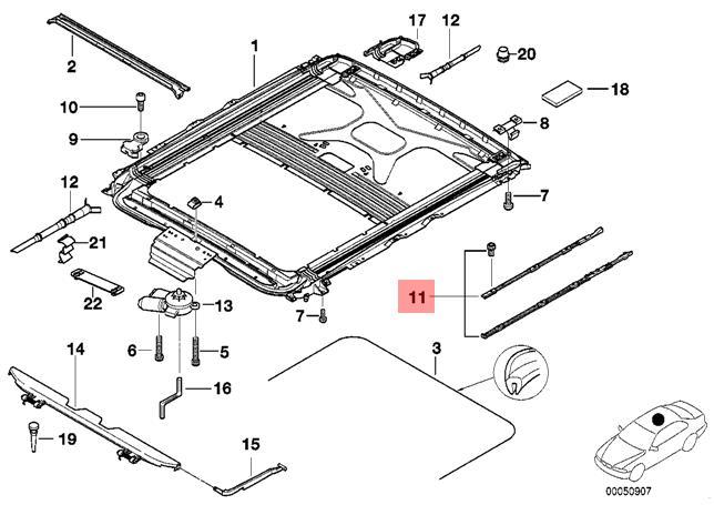 genuine bmw 5 series e39 sunroof cover mechanism repair