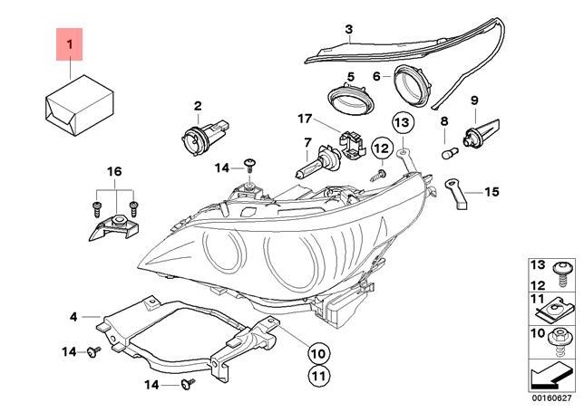 genuine bmw 5 series e60 e61 headlight tab repair kit oem