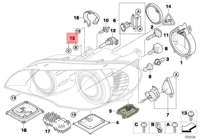 genuine bmw x5 e70 headlight repair kit oem 63127195535