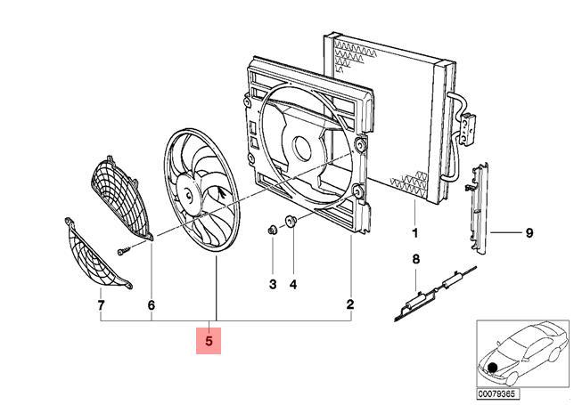 Genuine Bmw E39 Sedan Wagon Radiator Condenser Cooling Fan Oem