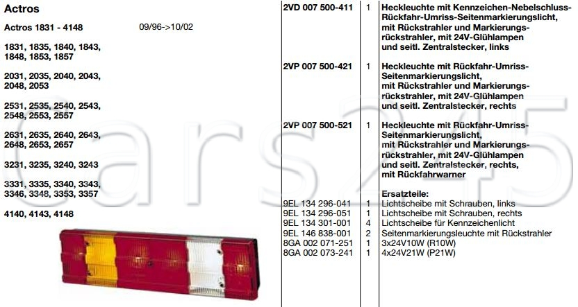 HELLA Mercedes Actros MP2 MP3 1996 Atego Axor II 2 Unimog Rückleuchte Links